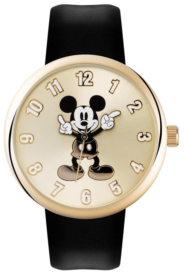 Disney Mickey Mouse Quartz Golden Dial Black Leather Strap Kids Watch