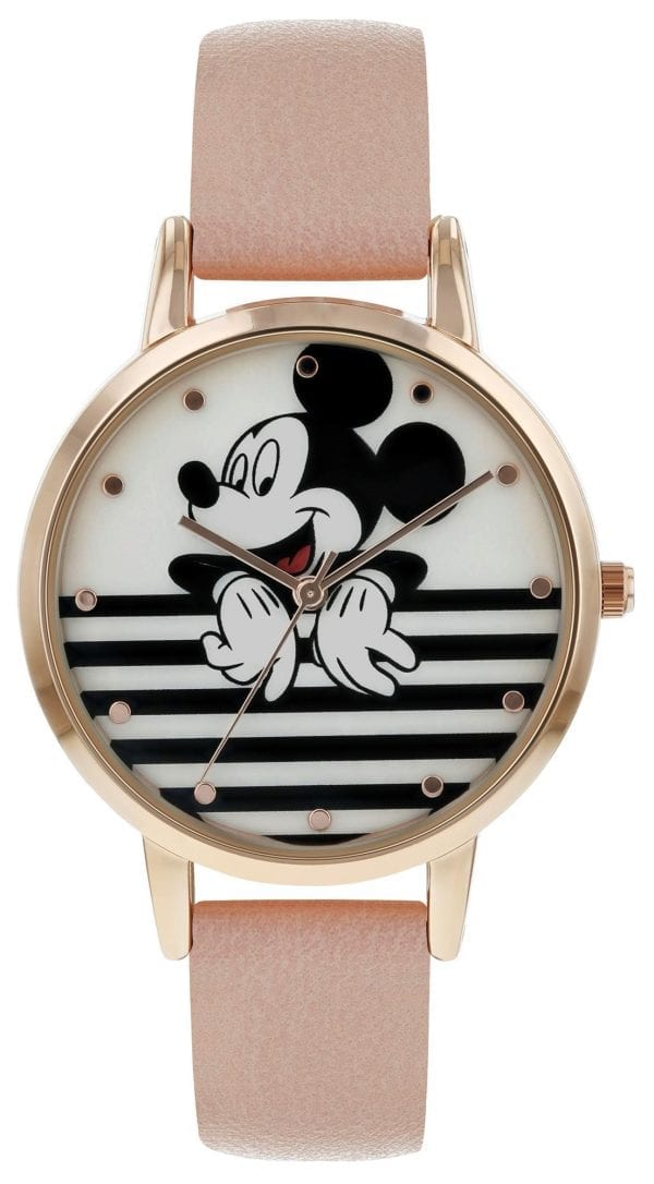 Disney Mickey Mouse Quartz Pink Leather Strap Gold PVD Case Girls Watch