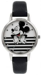 Disney Mickey Mouse Quartz Silver Steel Black Leather Girls Watch MK5089