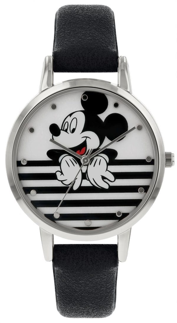Disney Mickey Mouse Quartz Silver Steel Black Leather Girls Watch MK5089