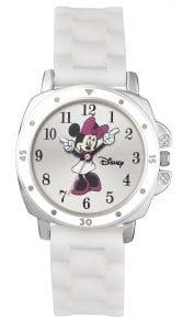 Disney Minnie Mouse Quartz White Rubber Strap Silver Case Girls Watch
