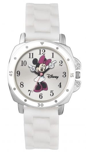 Disney Minnie Mouse Quartz White Rubber Strap Silver Case Girls Watch