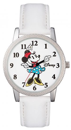 Disney Minnie Mouse Quartz White Leather Strap Girls Watch