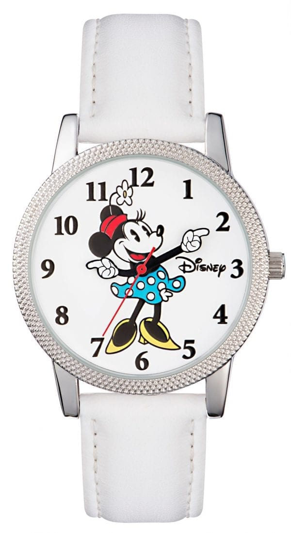 Disney Minnie Mouse Quartz White Leather Strap Girls Watch