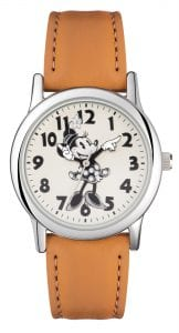 Disney Minnie Mouse Quartz Tan Leather Strap White Dial Girls Watch