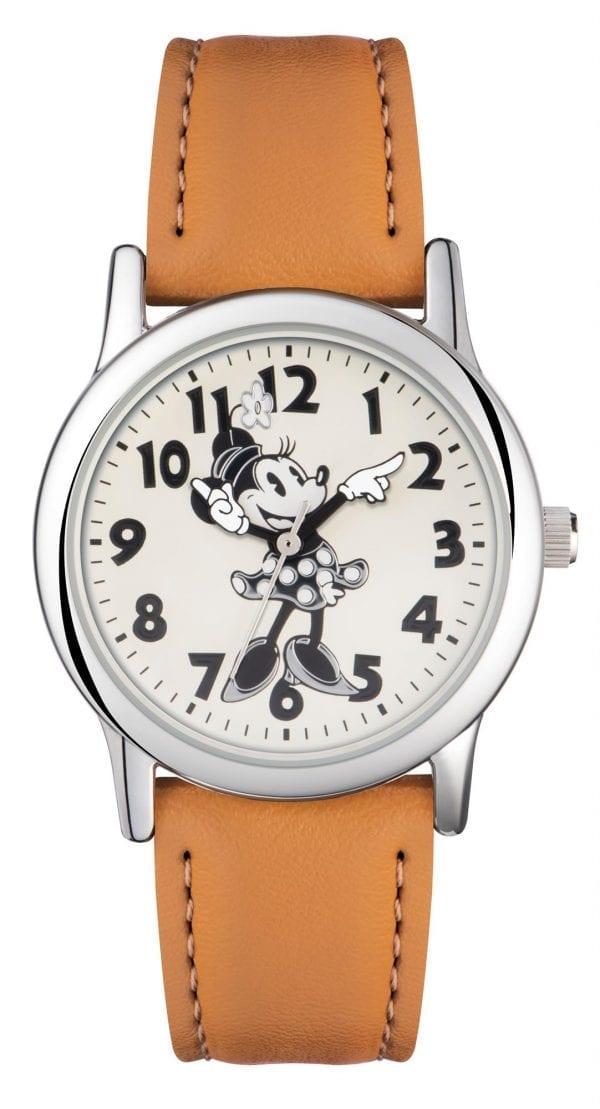 Disney Minnie Mouse Quartz Tan Leather Strap White Dial Girls Watch