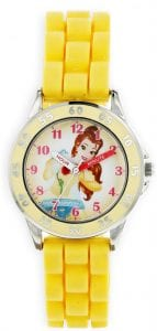Disney Princess Belle Quartz Yellow Rubber White Dial Girls Watch