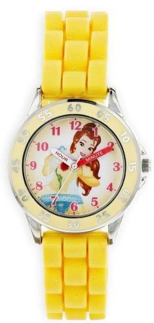 Disney Princess Belle Quartz Yellow Rubber White Dial Girls Watch