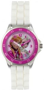 Disney Frozen Quartz White Rubber Strap Pink Dial Girls Watch