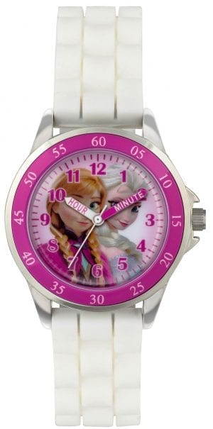 Disney Frozen Quartz White Rubber Strap Pink Dial Girls Watch