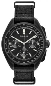 Bulova Special Edition Lunar Pilot Black NATO Quartz Chronograph Mens Watch 98A186