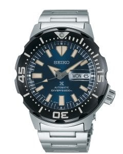 Seiko Prospex Monster Bold Bezel Diver Silver Stainless Steel Blue Dial Automatic Men's Watch SRPD25K1