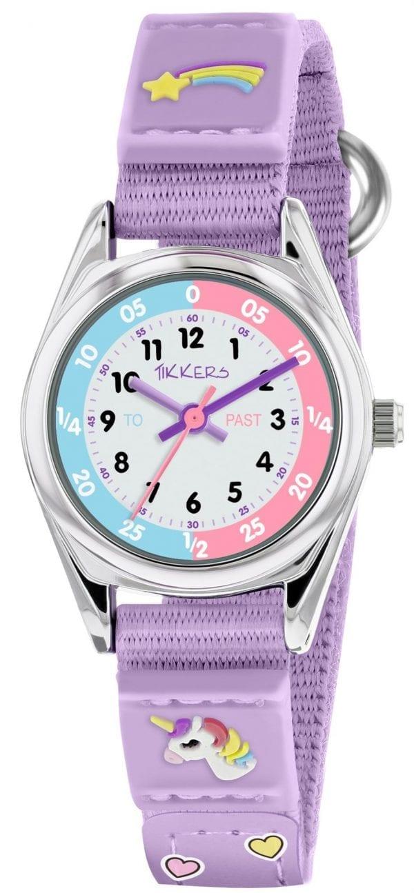 Tikkers Time Teacher Quartz White Dial Lilac Unicorn Strap Girls Watch