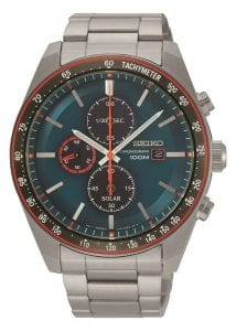 Seiko Solar Chronograph Tachymeter Turqouise Dial Mens Watch SSC717P1 43mm