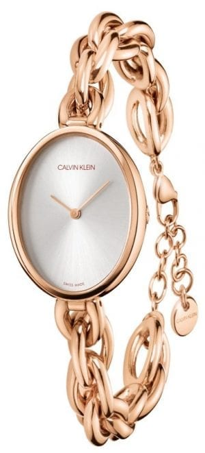 Calvin Klein Statement Silver Dial Rose Gold PVD Stainless Steel Ladies Watch
