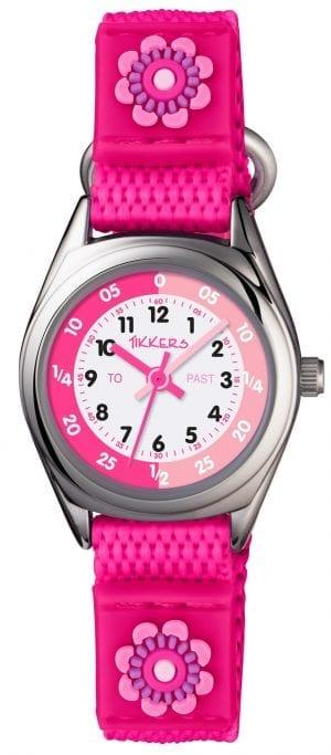 Tikkers Time Teacher Quartz Pink Flower White Dial Velcro Strap Girls Watch