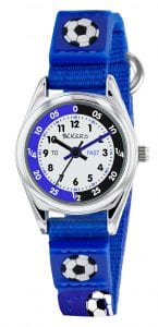 Tikkers Time Teacher Quartz Blue Fabric White Dial Football Boys Watch