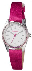 Tikkers Quartz Pink Glitter Strap White Dial Girls Watch