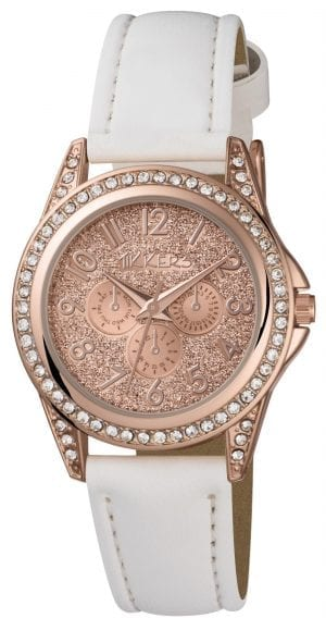 Tikkers Quartz Rose Gold PVD White Leather Strap Girls Watch