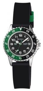 Tikkers Quartz Green Black Rubber Boys Watch