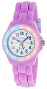 Tikkers Time Teacher Quartz Purple Unicorn Silicone Strap Girls Watch