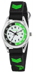Tikkers Time Teacher Quartz White Dial Black Green Strap Boys Watch