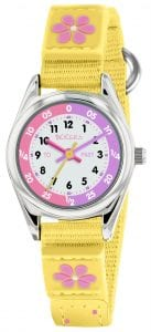 Tikkers Time Teacher Quartz White Dial Yellow Flower Velcro Strap Girls Watch