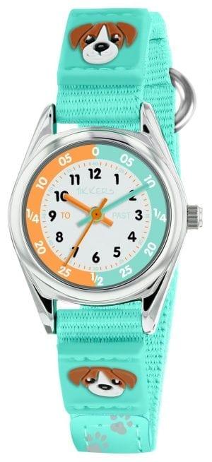 Tikkers Time Teacher Quartz Aqua Dog Velcro Strap Unisex Watch