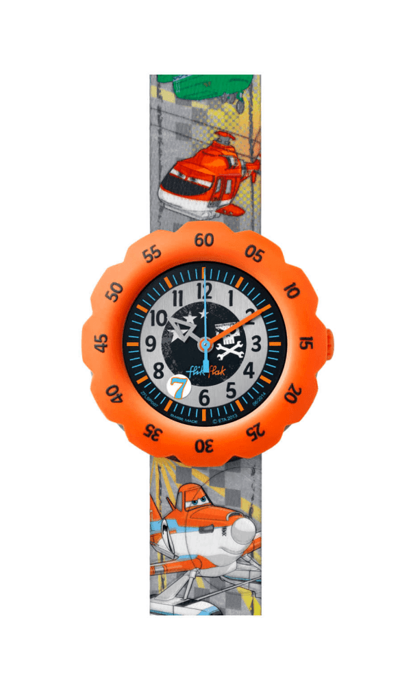 Flik Flak Disney Planes 2 Textile Strap Plastic Case Quartz Boys Watch FLSP007 35mm