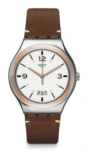 Swatch Irony TV Show Brown Leather Strap White Dial Mens Watch YWS443 42.7mm