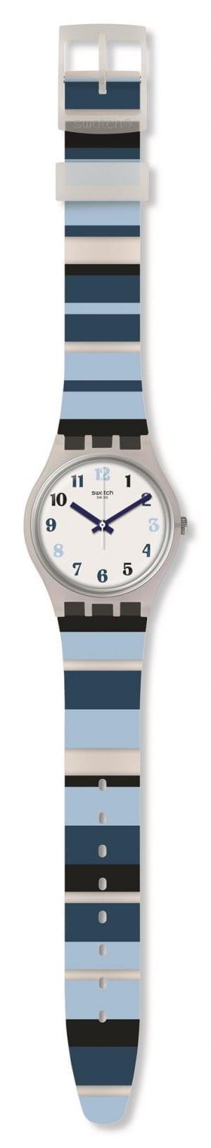 Swatch Night Sky White Dial Blue Stripey Strap Mens Boys Watch GE275 34mm