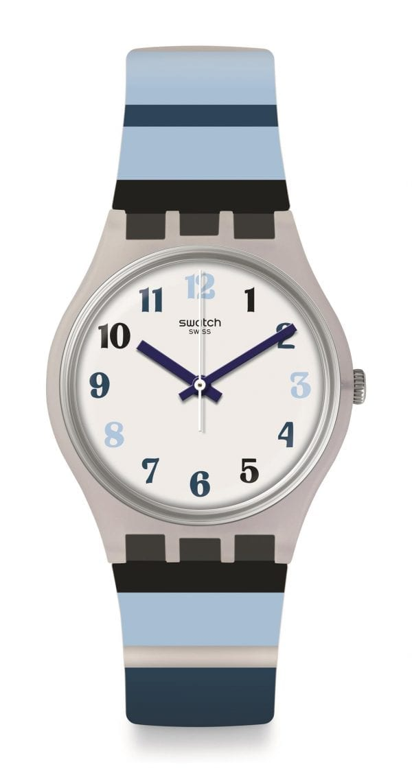 Swatch Night Sky White Dial Blue Stripey Strap Mens Boys Watch GE275 34mm