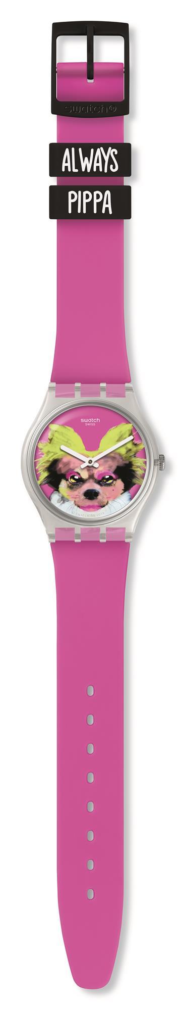 Swatch Pinkapippa Always Pippa Dog Pink Silicone Strap Girls Watch GE267 34mm