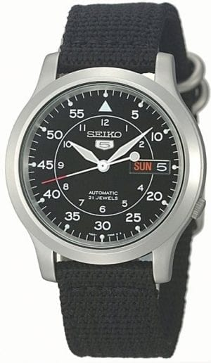 Seiko 5 Automatic Military Style Black Men's Watch SNK809K2