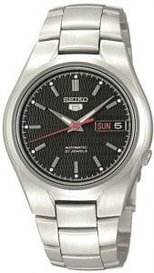 Seiko 5 Automatic Black Dial Silver Stainless Steel Men's Watch