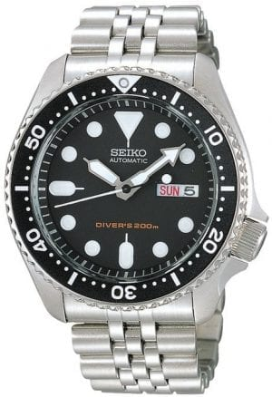 Seiko 5 Divers Mens Silver Stainless Steel Day & Date Watch SKX007K2