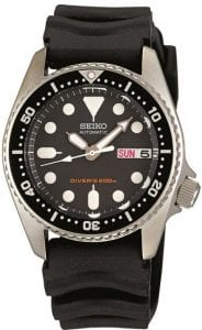 Seiko Men's SKX013K Black Rubber Automatic Watch with Black Dial