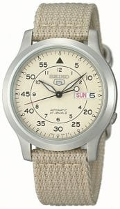 Seiko 5 Automatic Military Style Beige Men's Watch SNK803K2