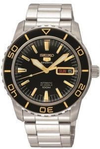 Seiko 5 Automatic Black Gold Dial Stainless Steel Mens Watch SNZH57K1