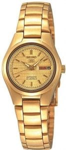 Seiko 5 Automatic Gold Coloured Stainless Steel Ladies Watch SYMC18K1 27mm