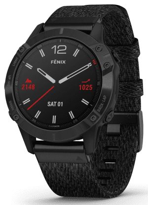 Garmin Fenix 6 Quartz GPS Sapphire Black Nylon Men's SmartwatchThis Garmin Fenix 6 Quartz GPS Sapphire Black Nylon Men's Smartwatch showcases the advances of the watchmaking industry. The 6 is an improved and upgraded version of the popular Fenix 5 smartwatch. One of the main features of this watch is its musically features. The watch has a Spotify and Amazon music compatibility via Bluetooth which can be paired with your phone for quick and easy switching of songs. The watch has a storage of 32GB which allows for up to 2,000 songs to be stored and accessed at the touch of a screen.A second feature of this watch is in terms of its GPS capabilities. The watch comes with a smaller-sized multi-sport GPS function with advanced navigation features. The smartwatch also comes with a feature called PacePro which calculates your split times per miles and adjusts the pace at which you need to be running at. A worlds first means that popular ski resorts are preloaded onto the timepiece such as the Alps for the winter enthusiast among us. Furthermore, the GPS function is used to track your steps and therefore your calories burnt.A third feature of this watch is its customisation power management modes. The modes let you see what features are activated as well as the remaining battery duration displayed in hours. At the top end of the scale on economy mode the watch can last just over a month. When all features are activated, the watch last just over a day.The dial is surrounded by a blackPVD stainless steel case to provide it with rigid protection. The features mentioned can be accessed through the touch screen display and through buttons on the right hand side of the case. Finally, a black nylon strap can be fastened using a standard buckle.This watch has a water resistance of up to 100 metres, making it suitable for swimming and snorkelling.Key Features:Fenix 6 FamilyBlack Nylon StrapQuartz MovementMusicMapsWi-Fi1.2 Inch Display240×240 Resolution25 Hour GPS Battery6 Hour GPS+
