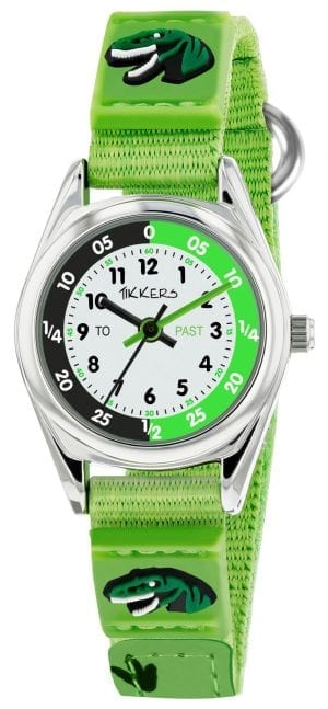 Tikkers Time Teacher Quartz Green Dinosaur Velcro Strap Boys Watch