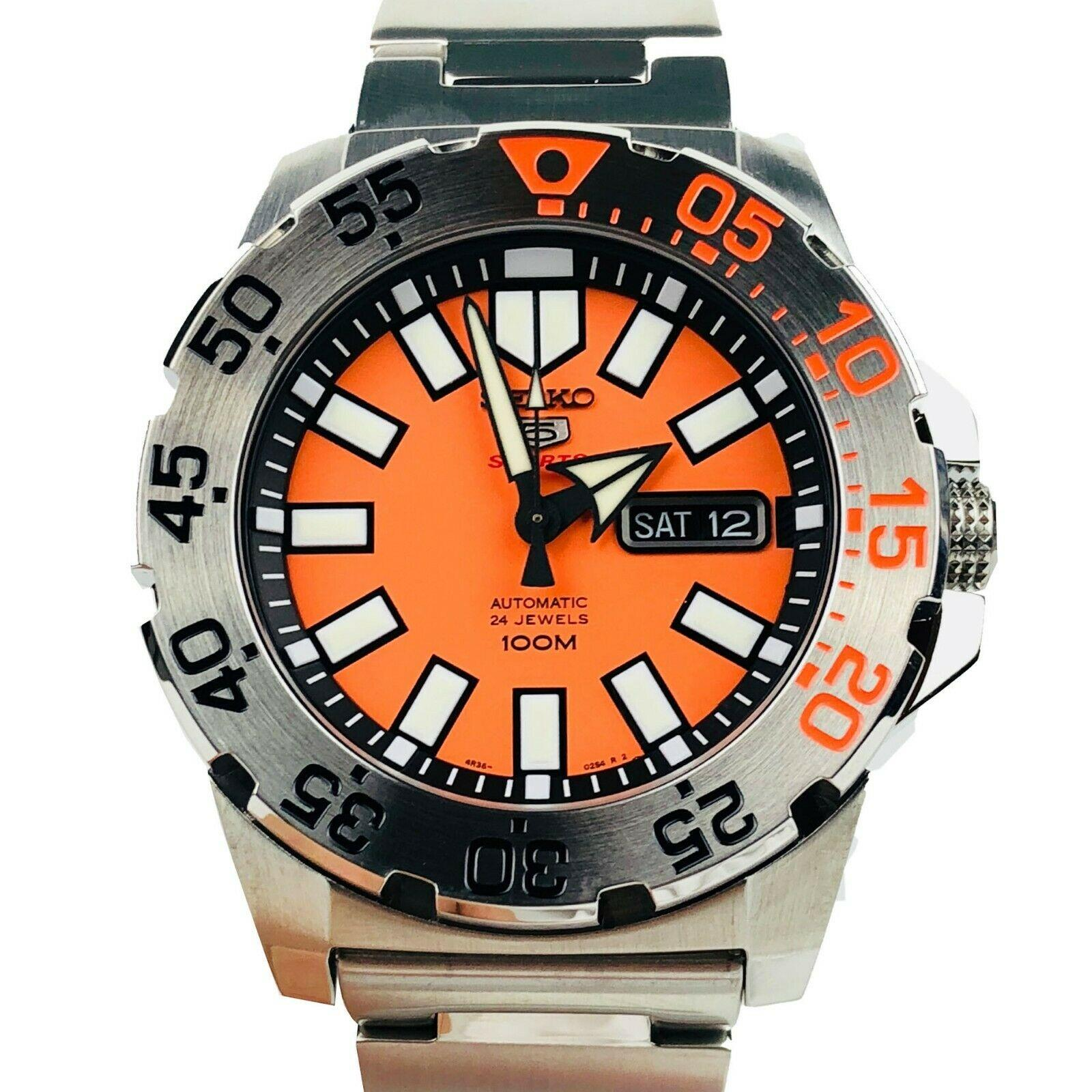 Seiko 5 Sports Diver Baby Monster Stainless Steel Case Stainless Steel Strap Orange Dial Mens Watch SRP483K1 43mm