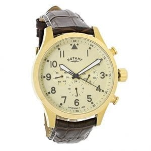 Rotary Gold Coloured Stainless Steel Case Brown Leather Strap Mens Watch GS00419/31 48mmThis Rotary Gold Coloured Stainless Steel Case Brown Leather Strap Mens Watch GS00419/31 teams an alluring cream dial with a curved 12 o'clock day window and a brown leather strap and case. This results in a timepiece that is the epitome of style and class. Key Features:Quartz MovementDay FunctionBuckle Clasp The Brand: RotaryFamed for his attention to detail and keen business acumen, Moise Dreyfuss established Rotary Watches in the Swiss town of La Chaux-de-Fonds in 1895. After a mere twelve years of trading, two further members of the Dreyfuss family, Georges and Sylvain, opened an office in Britain in order to facilitate the import of the family's watches. The UK proved to be the company's most lucrative market, and with sales booming, Rotary introduced its now iconic winged wheel logo in 1925. Following the outbreak of the Second World War, Rotary became the official timepiece supplier to the British Army, with the government's policy of mass conscription meaning that, once the war ended, there was a Rotary in practically every home. As the twentieth century progressed, Rotary became famed for its sponsorship of sporting events, the most notable of these being its partnership with the British Racing Motors F1 team in 1976 and its teaming up with Chelsea F.C. in 2015. Still operated and owned by the Dreyfuss family to this day, Rotary continues to produce the type of highly affordable and yet incredibly well-made timepieces that have defined the brand's output since its inception.