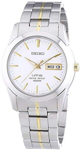 Seiko Conceptual Quartz Silver Stainless Steel White Dial Mens Watch SGG719P1Driven by a quartz movement, this Seiko Conceptual Quartz Silver Stainless Steel White Dial SGG719P1 offers superb dress watch at unrivalled value. The watch has a very simplisitc silver and gold design yet brings out an outstanding class for day to day use. Starting off with the dial, gold indexes and luminous hands sit just above a simplistic white dial. Sat just below the 12 o'clock index the ever present Seiko logo can be located with a day and date window sat adjacent to the 3 o'clock index. To protect the dial, sapphire crystal glass sits on top with a silver stainless steel case sitting around the edge. To continue the simplistic design, a silver stainless steel bracelet is secured by a push button deployment clasp.This watch has a water resistancy of 100 metres, making it suitable for swimming and snorkeling but should not be used for any form of diving.  Key Features:Quartz Movement100m Water ResistantDay/Date FunctionWhite DialAnalogue DisplayGold HandsStainless Steel BraceletStainless Steel CaseCaliber 7N43Deployment ClaspLuminous HandsSapphire Crystal Glass The Brand: SeikoSeiko's 135-year history has been marked by a ceaseless determination to innovate in every aspect of the watchmaker's art. By embracing this mantra, Seiko has been responsible for a string of industry-leading advances in the technology of time, such as the world's first quartz watch, the world's first TV watch, and the Seiko Kinetic, the first watch ever to generate its own electricity from the movement of the wearer. Seiko are unique in that they manufacture every aspect of every watch in-house, with this ruthless pursuit of perfection even including growing their own quartz crystals and sapphires.