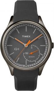 Timex Style Elevated Mens Watch with black strap and black face. 41mm case size and up to 50m water resistency.