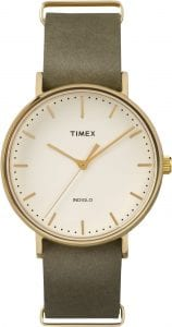 Timex Weekender Unisex Watch with cream face and green strap. 37mm case size and up to 30m water resistency.
