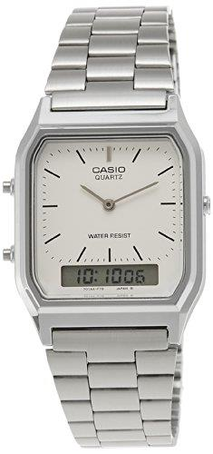 Casio Collection Retro Square White Dial Silver Stainless Steel Men's Watch AQ-230A-7DMQYESThis Casio Collection Retro Square White Dial Silver Stainless Steel Men's Watch AQ-230A-7DMQYES offers retro appeal combined with superb value. A retro square white dial features a mainly analogue display with a small digital display at the 6 o'clock position. Both displays are powered by a quartz movement with the digital display howing the day and date. More features which can be accessed include a daily alarm and a second time zone. Surrounding the dial is a silver stainless steel case and acrylic glass. Finally, a silver stainless steel bracelet can be fastened using a clasp.This watch has a water resistance of 30 metres, making it suitable for light splashes.Key Features:Quartz MovementAuto CalendarDaily AlarmSecond Time ZoneWater Resistant to 30mWhite DialSilver Stainless Steel BraceletSilver Stainless Steel caseAnalogue DisplayDigital SubdialSquare Case12/24 Hour TimekeepingAcryl Glass3 Year Battery LifeThe Family: Casio ClassicThe Casio Classic Collection includes some the most iconic watches the company has ever made. Popular today due to their retro appeal, refreshingly simple practicality, and understated styling, the Casio Classic Collection of timepieces are truly timeless and appeal to an almost uniquely broad range of people; proof that some things genuinely never go out of style.The Brand: CasioCasio was established in 1946 by Japanese engineer Tadao Kashio. The company entered the timepiece market in 1974 with the release of the Casiotron, the world's first Auto Calendar watch. Only eleven years after entering this field, Casio completely reshaped global thought about the function a watch should perform with the release of the pioneering and now legendary G-Shock family. Innovation and world firsts have defined the company's history ever since, the most striking of these being the release of the first ever touch screen watch in 1991, 24 years before the Apple