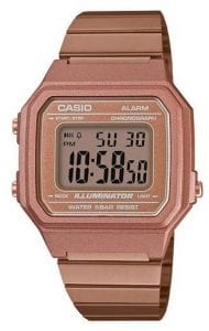 Casio Collection Rose Gold Men's Alarm Chronograph B650WC-5AEFThis Casio Collection Stainless Steel Men's Alarm Chronograph (B650WC-5AEF) combines the retro appeal of the Casio Collection with a chunky and robust case size. Key Features:Quartz MovementLED LightAuto CalendarDaily Alarm12/24 Hour Timekeeping