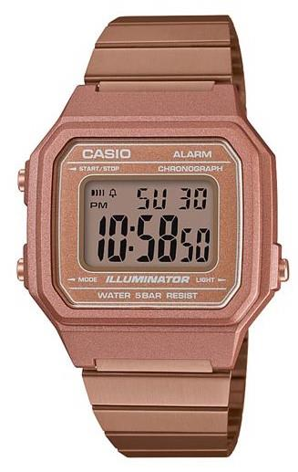Casio Collection Rose Gold Men's Alarm ChronographB650WC-5AEFThisCasio Collection Stainless Steel Men's Alarm Chronograph (B650WC-5AEF) combines the retro appeal of the Casio Collection with a chunky and robust case size.Key Features:Quartz MovementLED LightAuto CalendarDaily Alarm12/24 Hour Timekeeping